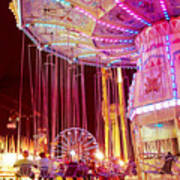 Pink Carnival Festival Ferris Wheel Night Ride Poster by Kathy Fornal