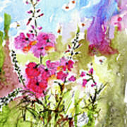 Pink Lavatera Watercolor Painting By Ginette Poster by Ginette Callaway