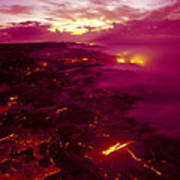 Pink Volcano Sunrise Poster by Ron Dahlquist - Printscapes