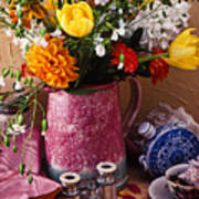 Pitcher Of Flowers Still Life Poster by Garry Gay