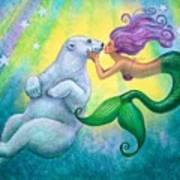 Polar Bear Kiss Poster by Sue Halstenberg