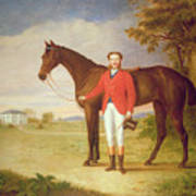 Portrait Of A Gentleman With His Horse Poster by English School