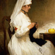 Portrait Of A Nurse From The Red Cross Poster by Gabriel Emile Niscolet