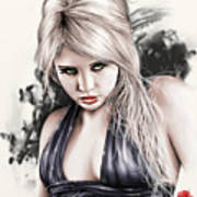 Portrait Of Miss Mosh Poster by Pete Tapang