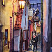 Prague Old Street Golden Line Poster by Yuriy  Shevchuk