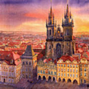 Prague Old Town Square 02 Poster by Yuriy  Shevchuk