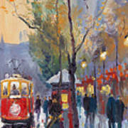 Prague Old Tram Vaclavske Square Poster by Yuriy  Shevchuk