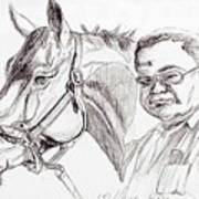 Race Horse And Owner Poster by Nancy Degan
