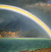 Rainbow Over Jenny Lake Wyoming Poster by Albert Bierstadt