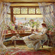 Reading By The Window Poster by Charles James Lewis