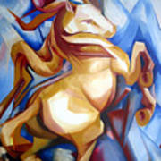 Rearing Horse Poster by Leyla Munteanu