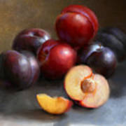 Red And Black Plums Poster by Robert Papp