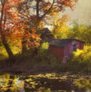 Red Barn In Autumn Poster by Joann Vitali