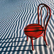 Red Chair In Sand Poster by Garry Gay