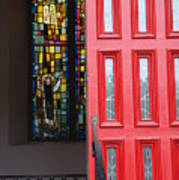 Red Door At Church In Front Of Stained Glass Poster by David Bearden