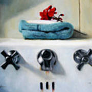 Red Geranium And Old Sink Poster by Linda Jacobus