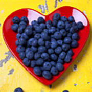 Red Heart Plate With Blueberries Poster by Garry Gay