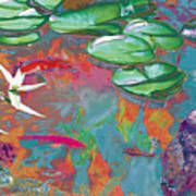 Red Koi In Green Disguise Poster by Judy Loper