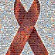 Red Ribbon To Benefit Cap Poster by Boy Sees Hearts