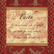 Red Traditional Faith Poster by Debbie DeWitt