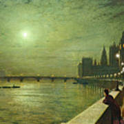 Reflections On The Thames Poster by John Atkinson Grimshaw