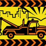 Retro Tow Truck Poster by Aloysius Patrimonio