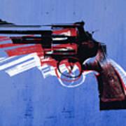 Revolver On Blue Poster by Michael Tompsett