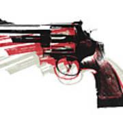 Revolver On White Poster by Michael Tompsett