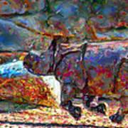 Rhino On The Run Poster by Marilyn Sholin