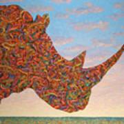 Rhino-shape Poster by James W Johnson