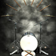 Rock N Roll Crest-the Drummer Poster by Frederico Borges