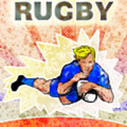 Rugby Player Diving To Score A Try Poster by Aloysius Patrimonio