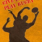 Rugby Player Jumping Catching Ball In Lineout Poster by Aloysius Patrimonio