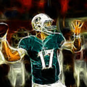 Ryan Tannehill - Miami Dolphin Quarterback Poster by Paul Ward