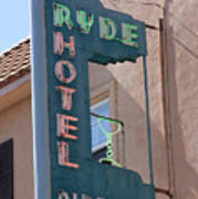 Ryde Hotel Sign Poster by Troy Montemayor