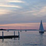 Sailing At The Uw - Madison Poster by Lisa Patti Konkol