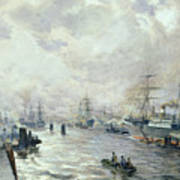 Sailing Ships In The Port Of Hamburg Poster by Carl Rodeck