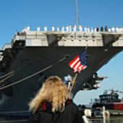 Sailors Aboard Aircraft Carrier Uss Poster by Stocktrek Images