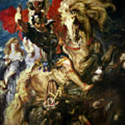 Saint George And The Dragon Poster by Peter Paul Rubens