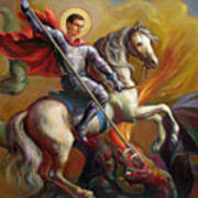 Saint George And The Dragon Poster by Svitozar Nenyuk