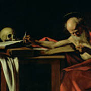 Saint Jerome Writing Poster by Caravaggio