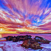 Salmon Sunrise Poster by Bill Caldwell -        ABeautifulSky Photography