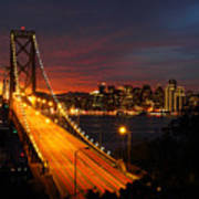 San Francisco Bay Bridge At Sunset Poster by Pierre Leclerc Photography