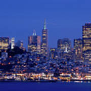 San Francisco Skyline At Dusk Poster by David Rout