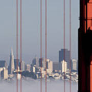 San Francisco Skyline From Golden Gate Bridge Poster by Mona T. Brooks