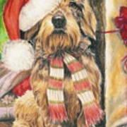 Santas Little Yelper Poster by Barbara Keith