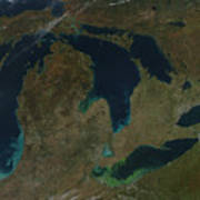Satellite View Of The Great Lakes, Usa Poster by Stocktrek Images