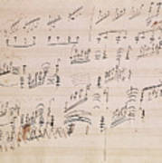 Score Sheet Of Moonlight Sonata Poster by Ludwig van Beethoven