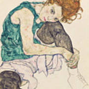 Seated Woman With Bent Knee Poster by Egon Schiele