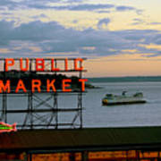 Seattle Ferry At Dusk Poster by Ed Rooney